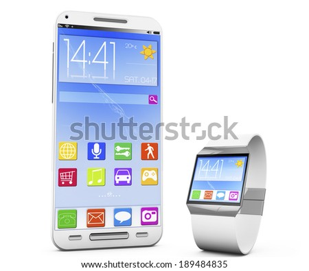 smartwatch and a smartphone, 3d rendered image. - stock photo