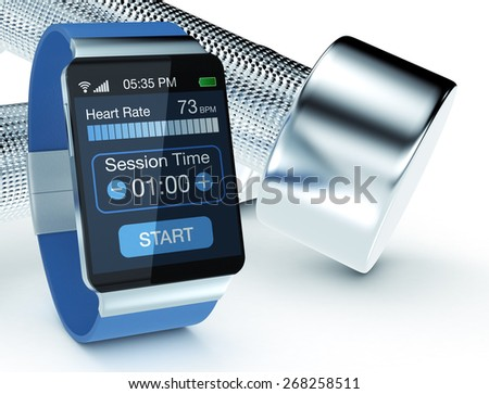 smartwatch with fitness app and dumbbells, on white background (3d render) - stock photo