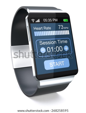 smartwatch with fitness app, on white background (3d render) - stock photo