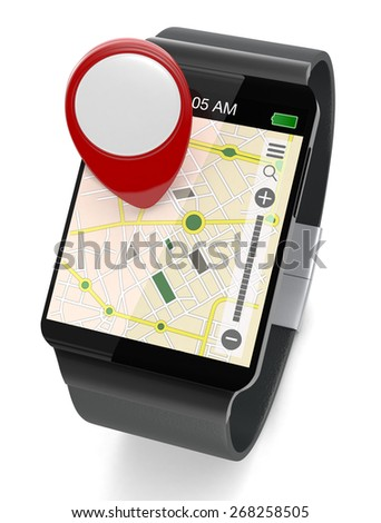 smartwatch with gps navigation app and a pin, on white background (3d render)