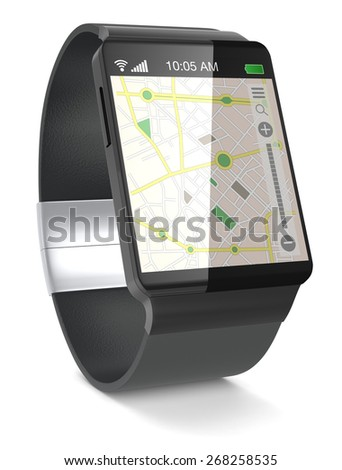 smartwatch with gps navigation app on white background (3d render) - stock photo