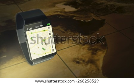 smartwatch with gps navigation app over an ancient map (3d render) - Elements of this image furnished by NASA - stock photo