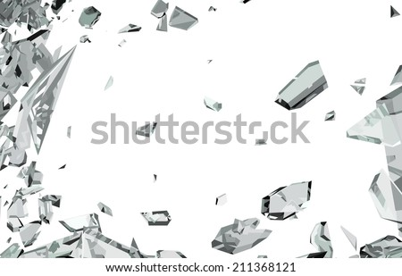 Smashed and shattered glass isolated on white. Large resolution - stock photo