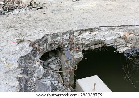 smashed Bridge - stock photo