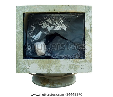 Smashed computer monitor, isolated on white background,clipping path - stock photo