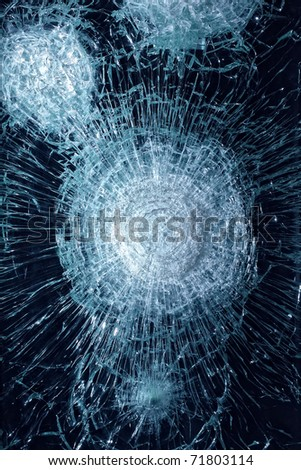 Smashed glass in black - stock photo