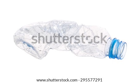 Smashed plastic water bottle isolated on white background