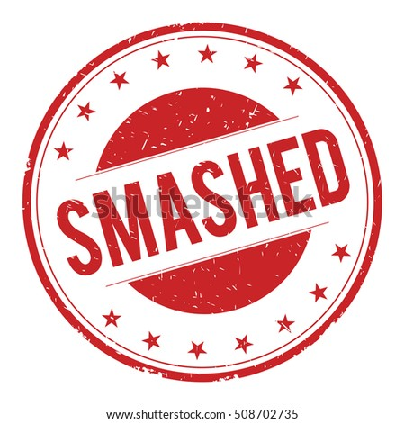 SMASHED stamp sign text word logo red.