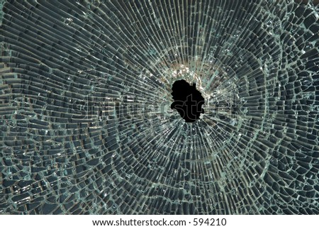 Smashed up glass - stock photo