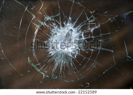 Smashed windshield. - stock photo