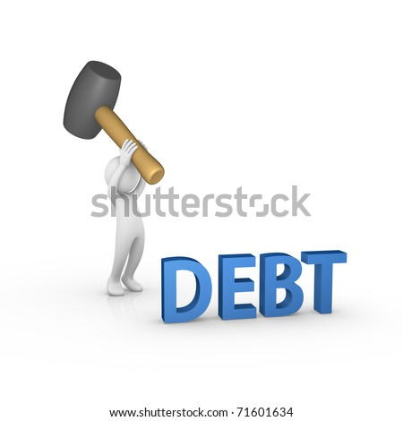 Smashing the word DEBT with a big rubber mallet - stock photo