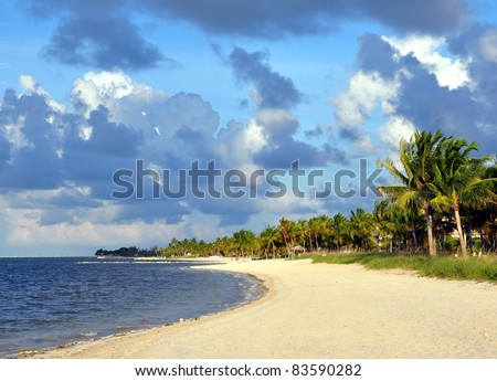 Smathers Beach, Key West, Florida, With Interesting Clouds In Sky - stock photo