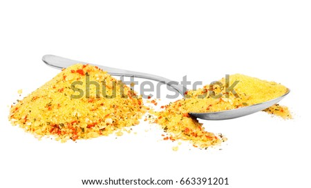 Smear of turmeric. Isolated on white. Up view. Empty space for text or inscription.