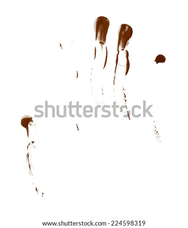 Smeared with the fingers oil paint stains isolated over the white background - stock photo