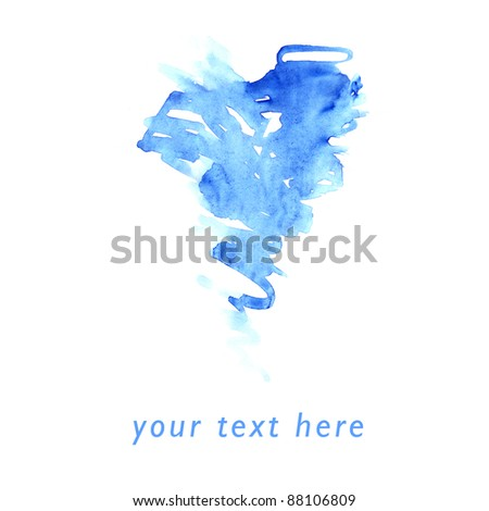 smears blue abstract texture with watercolor place for your message - stock photo