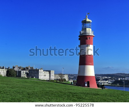 Smeaton's Tower Lighthouse, Plymouth Hoe, Devon, UK - stock photo