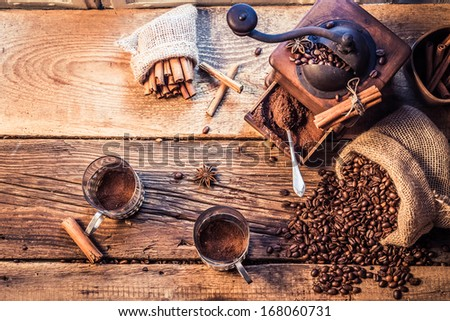 Smell of freshly grinded coffee - stock photo
