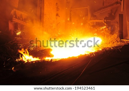 Smelting of metal casting, steel  - stock photo