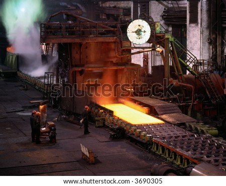 Smelting steels in heavy industry factory. Production of the steel sheet