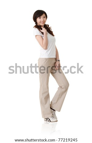 Smile Asian woman, full length portrait isolated on white background. - stock photo