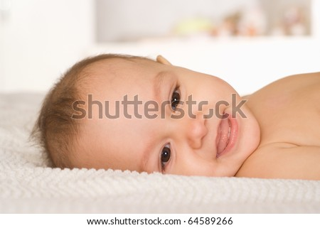 smile baby on a white background