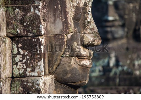 smile Buddha faces of Bayon temple at Angkor Wat complex, Siem Reap, Cambodia