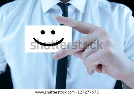 smile - business card - stock photo