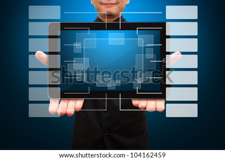 Smile business man hold digital touch pad and Chart icon - stock photo