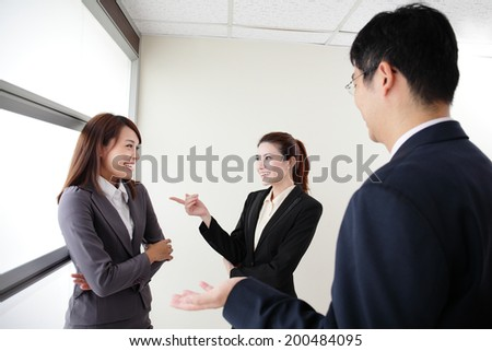 smile business team speak to her workmate office, asian - stock photo