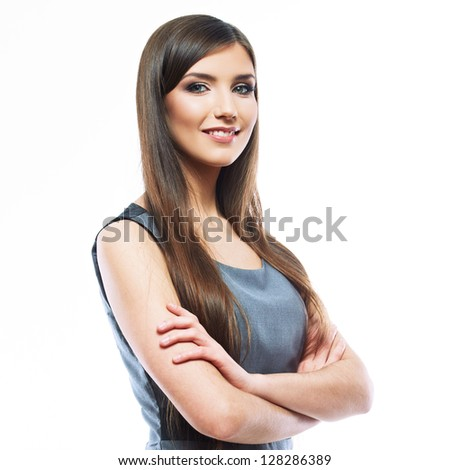 Smile Business woman crossed arms . Long hair model isolated .
