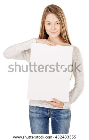 Smile Business woman  holding a white board with empty copy space. image on a white studio background. business and lifestyle concept - stock photo