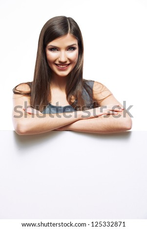 Smile Business woman portrait with blank board isolated white background . Female model with long hair. - stock photo