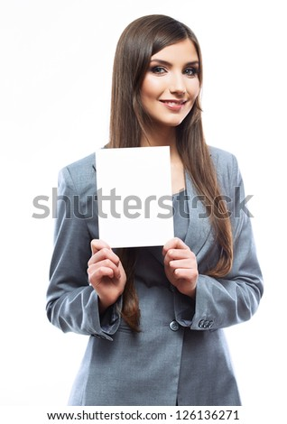 Smile Business woman portrait with blank white board on white isolated . Female model with long hair. - stock photo