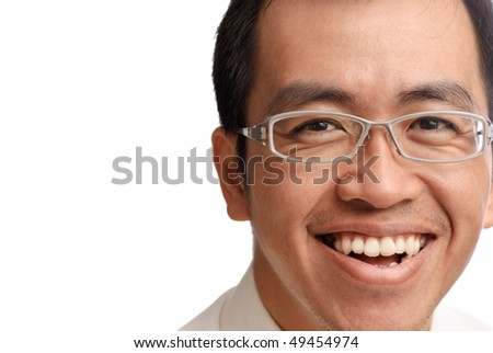 Smile businessman of Asian on white background, closeup portrait. - stock photo