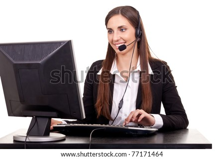 smile busy businesswoman in office place talking on headset over white background