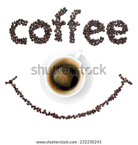 smile coffee beans with coffee cup - stock photo