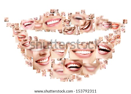 Smile collage of perfect smiling faces closeup. Conceptual set of beautiful wide human smiles with great healthy white teeth. Isolated over white background  - stock photo