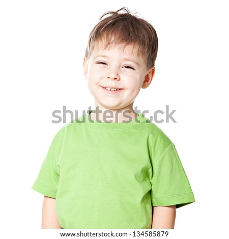 Smile cute little boy isolated on white background - stock photo