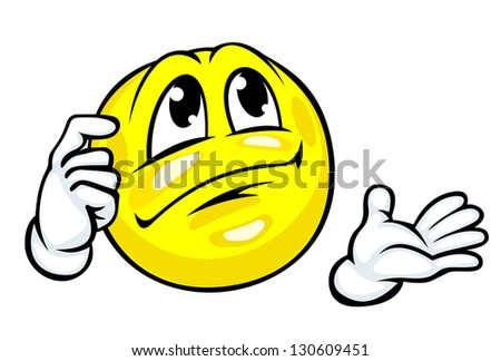 Smile face in cartoon style for emotion concept design. Vector version also available in gallery - stock photo