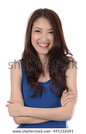 Smile face of Teenage Asian woman isolated