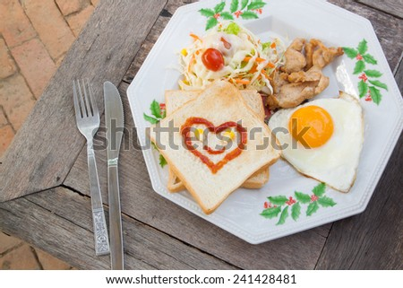 Smile for sweet breakfast with love,breakfast food,hearts - stock photo
