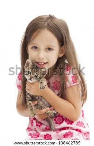 smile girl holding an adorable cat - stock photo