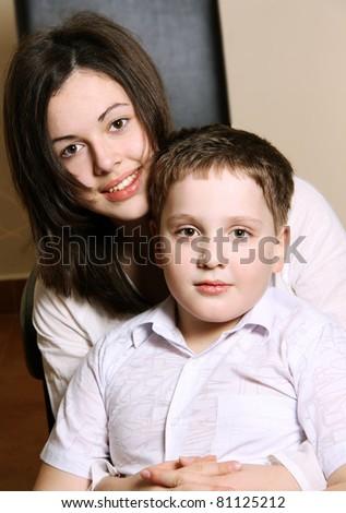 Smile girl in black - stock photo