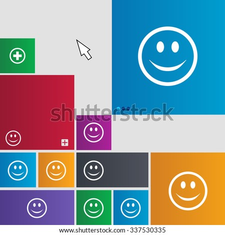 Smile, Happy face icon sign. Metro style buttons. Modern interface website buttons with cursor pointer. illustration