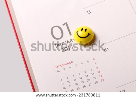 Smile icon on the diary at 1st January 2015 - stock photo
