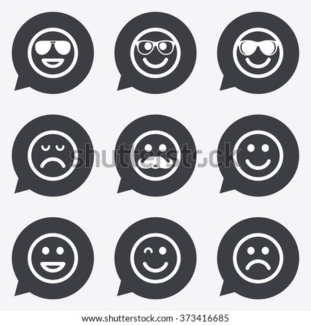 Smile icons. Happy, sad and wink faces signs. Sunglasses, mustache and laughing lol smiley symbols. Flat icons in speech bubble pointers. - stock photo