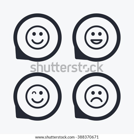 Smile icons. Happy, sad and wink faces symbol. Laughing lol smiley signs. Flat icon pointers. - stock photo