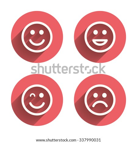 Smile icons. Happy, sad and wink faces symbol. Laughing lol smiley signs. Pink circles flat buttons with shadow.  - stock photo
