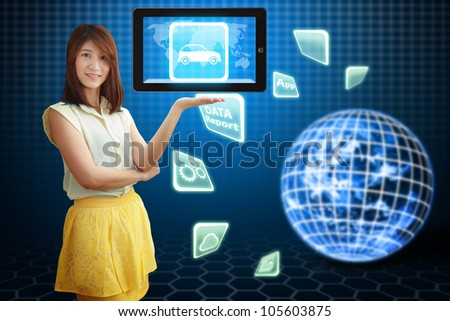 Smile lady and Car icon on tablet pc : Elements of this image furnished by NASA
