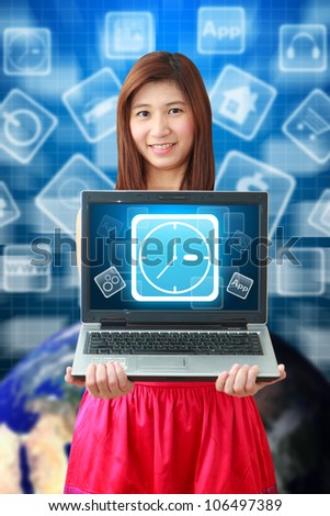 Smile lady and Clock icon on notebook computer : Elements of this image furnished by NASA